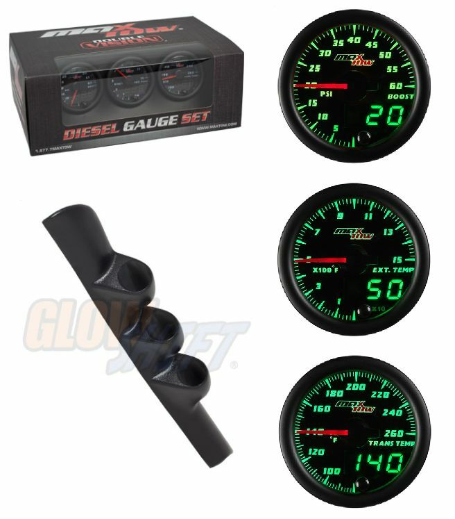 GS MaxTow DV Diesel Gauge Set-Boost,Pyro,Trans Temp &Black Pod For 98-02 Cummins