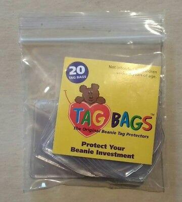 20 TAG BAGS TY Beanie Babies Heart Shaped Hang Tag Protectors Original Boos Baby (Beanie Bags)