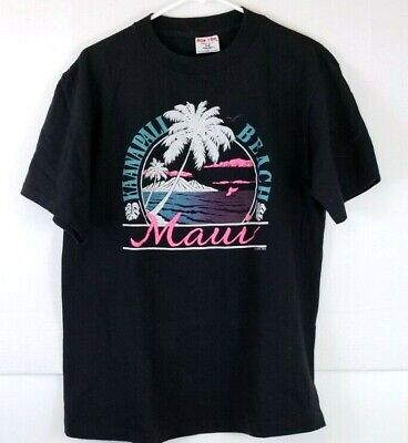 Used, Vintage Mens L Island Print Tees Maui Kaanapali Beach T Shirt Vintage for sale  Shipping to Canada