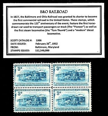 1952 - B&O RAILROAD -  Block of Four Vintage U.S. Postage Stamps