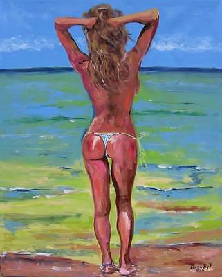 BEACH Nude Original Art Painting Artist DAN BYL Contemporary Modern Huge 4x5ft