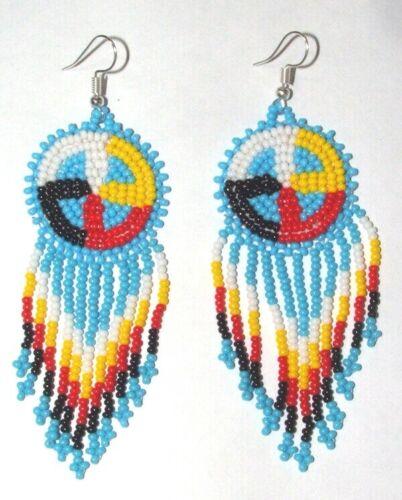 "Handmade Beaded Medicine Wheel Earrings Native Regalia 3.5"" length New SB15"