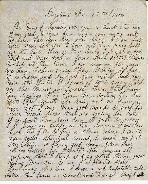 COYOTEVILLE, CALIFORNIA GOLD RUSH LETTER Dated 1852 or 1854 - Transcribed