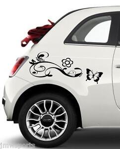 2 x Flower/Butterfly Graphic Vinyl Car Stickers/Decals