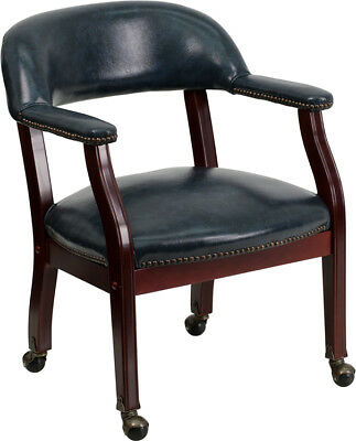 Navy Vinyl Guest Reception Side Chair With Casters