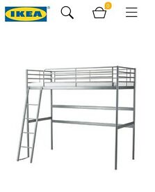 Childrens Ikea Loft Bed - Silver