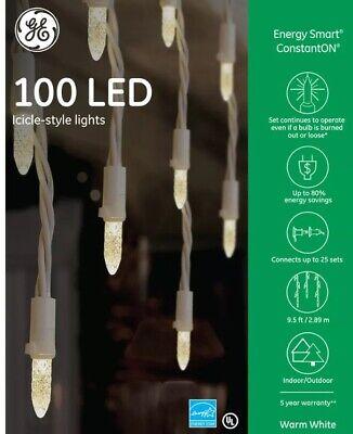 GE Energy Smart 100 LED Warm White Icicle Style Mini Lights Indoor/Outdoor NIB