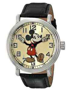 Ewatchfactory Disney Men's Mickey Mouse Watch Black Leather 56109 Vintage Style