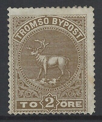NORWAY TROMSO c.1883 2 ore BYPOST local/private courier stamp mint MH