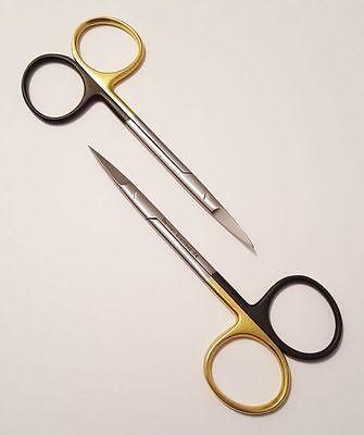 2 Iris Scissors 4.5 Straight Curved Supercut Serrated German Stainless Ce