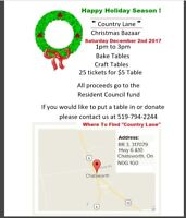 """Christmas Bazaar at """"Country Lane Long Term Care Residence"""""""