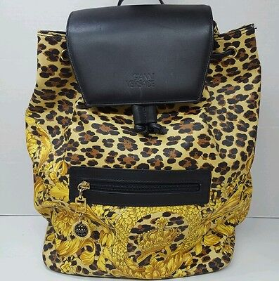 Vintage Versace Baroque Print PVC / Leather Backpack, Authentic, RARE