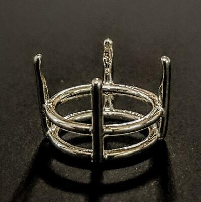 Sterling Silver or 14kt Yellow or White Gold Low 4-25mm Round  Wire Basket Head, Sterling Silver Wire Basket