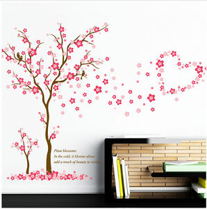 Pink Cherry Plum Blossom Girls Room Wall Art Decals Mural Vinyl Stickers  Tree Part 80