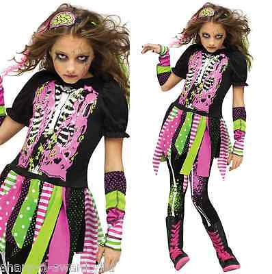 ück Neon Zombie Halloween Kostüm Kleid Outfit 4-10 Jahre (Mädchen Zombie Outfit)