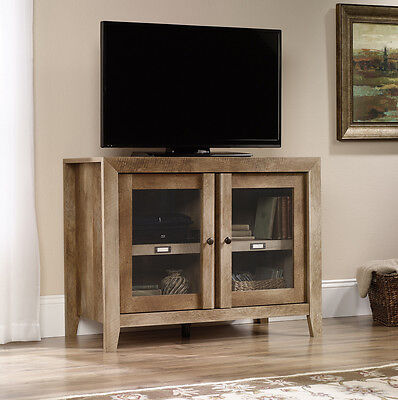مكتبة تلفزيون جديد Sauder Woodworking 418268 Dakota Pass TV Stand Display Cabinet Craftsman Oak