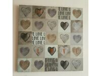 Wall Art 'Love' Canvas - Hearts Design