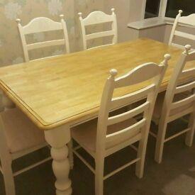 Farmhouse Table and chair set - Bespoke- 6ft x 3ft - Cream-Grey-White