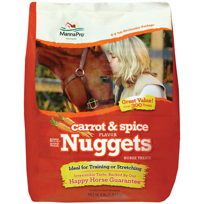 MANNA PRO CARROT & SPICE FLAVOR NUGGETS HORSE TREATS 4LB.