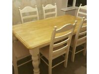 Gorgeous Cream 6ft x 3ft Oak Table and Chair Set
