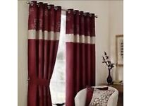 1 pair of long red 'scattered flowers' curtains