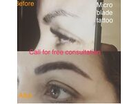 Micro-blade eyebrow tattoo mobile's technician
