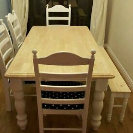 Charming Shabby Chic 6FT Farmhouse Table And Bench/Chairs