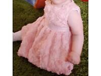 Fancy pink dress 6-9 months good as new