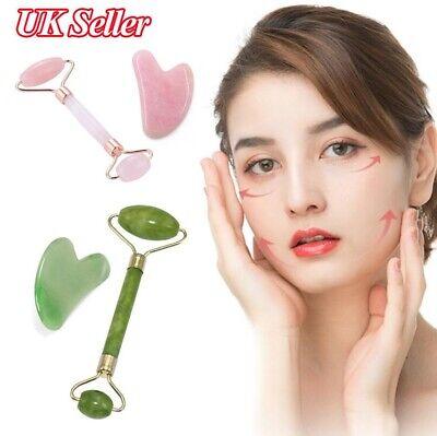 Facial Jade Stone Roller & Gua Sha Stone for Beauty Massage Tool Face Body Neck