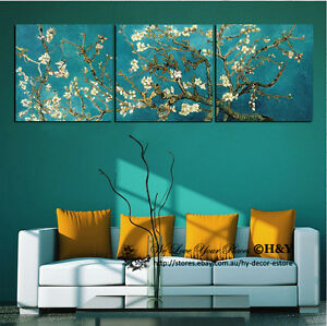 3 40x40x3cm Van Gogh Almond Blossom Canvas Giclee Prints Wall Art Wall Decor AU