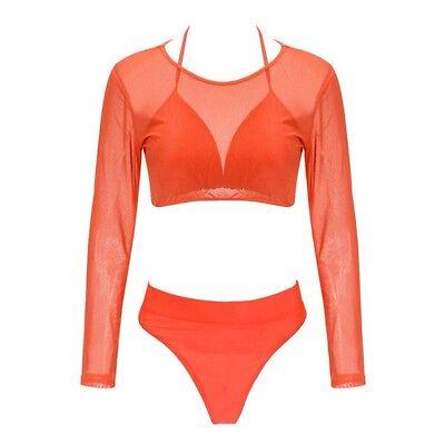 Womens 3 Pieces Swimwear Push Up Bikini Set Swimsuit Long Sleeve Mesh Crop Top  3 Piece Mesh Bikini