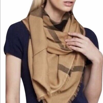 NWT Authentic Burberry Overdyed Chambray Check Square Scarf Camel