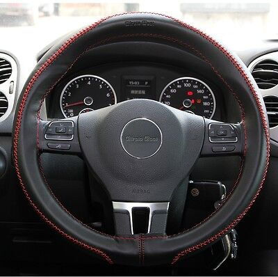 Stitch On Steering Wheel Skin Wrap Cover Black & Red Thread PVC Best Fit &