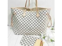 Louis Vuitton Neverfull Designer Womens Handbag Bag Purse Wallet Travel Bag Azur Holiday