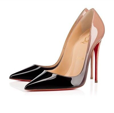 Christian Louboutin So Kate 120 Degrade Nude Gray Black Pumps Heels 38