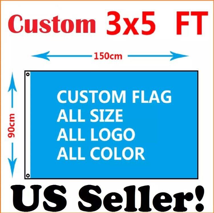 Custom Flag 3x5 ft Single Sided Banner USA SHIPPING! Sharp Imaging w/ 2 Grommets