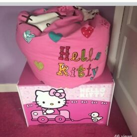Hello kitty toy box and beanbag