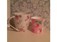 Cath kidston discontinued floral mug&strawberry pink Queens floral Churchill cup