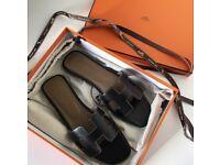 Hermes Oran Black Sandals