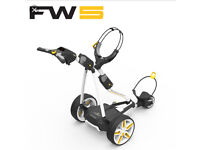 Powakaddy fw5 lithium golf trolley with bag and brolly holder