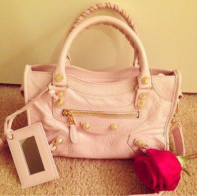 Balenciaga Rose Poudre Leather Giant 12 Gold Mini City Bag Retail $1395