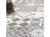 Patterned Tiles - Pale grey and blue NEW