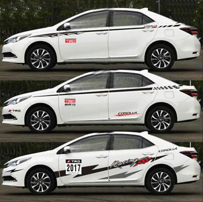 A Pair Auto Waist Line Car Sticker Vinyl Racing Stripes Decal For TOYOTA COROLLA