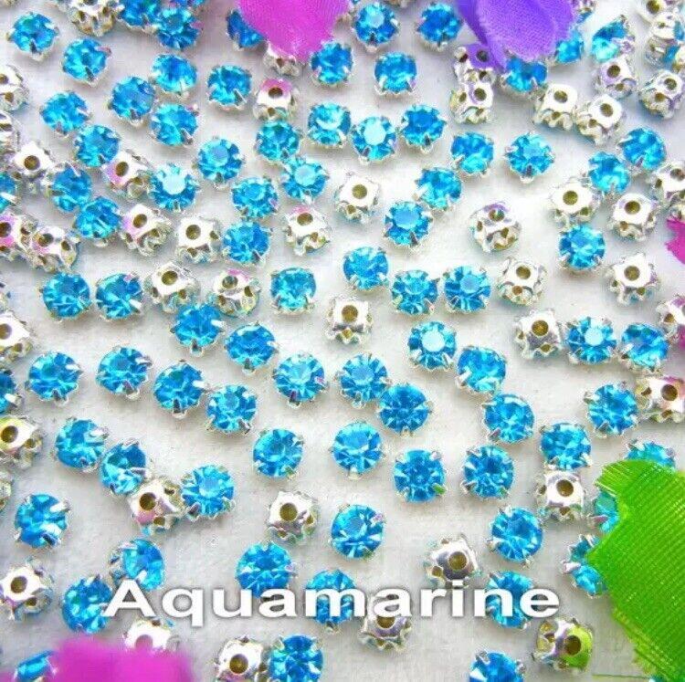 5mm Sew On Crystal Rhinestones 100 pcs SS24 Aquamarine Blue Birthstone March