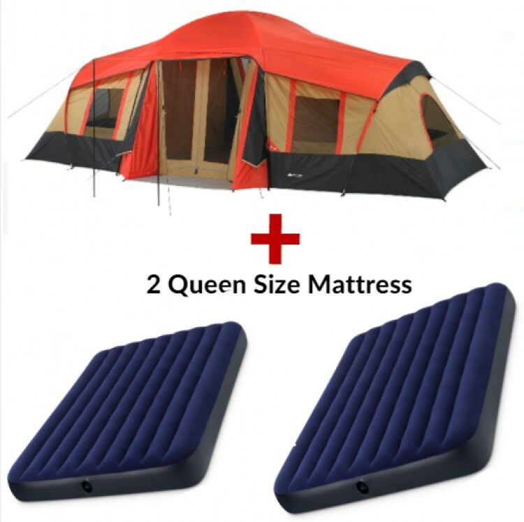 finest selection 80c4a 51d3f Details about Family Camping Instant Pop Up Tent 10 Person 3 Rooms Cabins 2  Queen Air Mattress