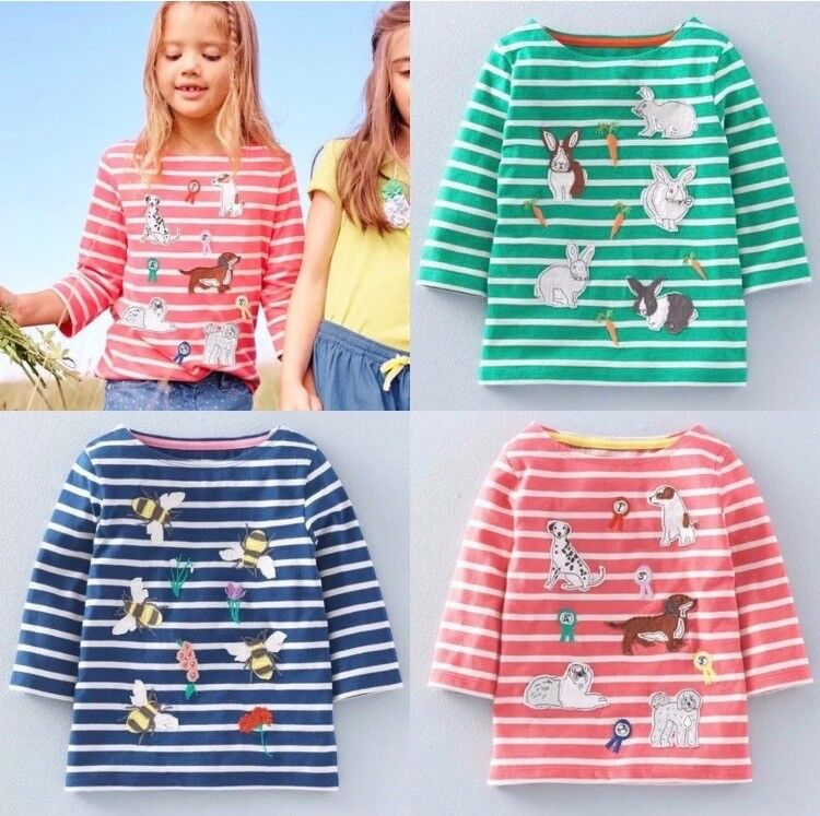 4a46f95dcd Mini Boden Girls Long Sleeve Breton Applique Tops Age 1-12Yrs ...