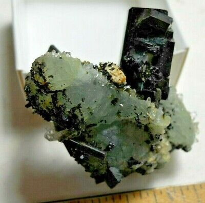 Superb Miniature Babingtonite on Prehnite from Yunnan, China for sale  Flagstaff