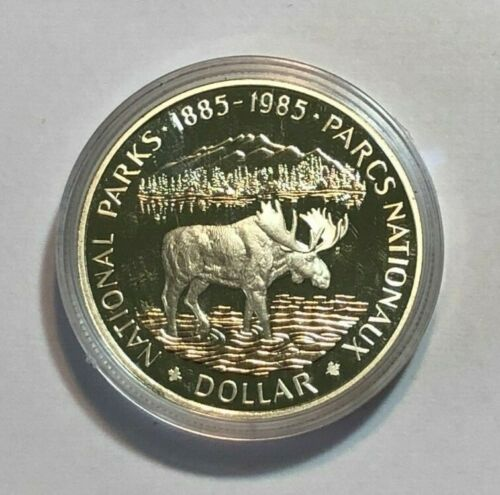 1985 Canada Silver Dollar National Parks Proof, Moose, in Capsule. .375oz ASW