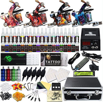 Beginner Tattoo Kit 4 Machine Guns Power Supply Set Grips 40 color Ink Needles
