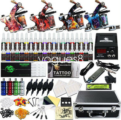 - Beginner Complete Tattoo Kit 4 Machine Power Supply Set Grip 40 color Ink Needle